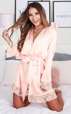 Bad Medicine Robe In Blush Produced Lingerie Fine, Pretty Lingerie, Lingerie Set, Cute Pajamas, Silk Pajamas, Pyjamas, Pink Silk Robe, Mode Glamour, Streetwear