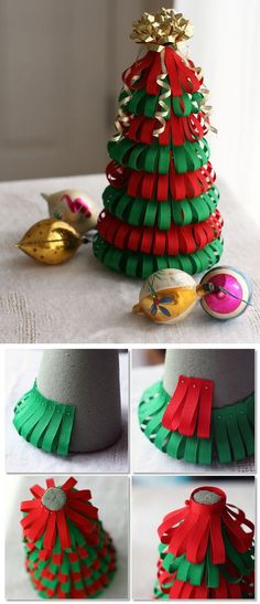 This DIY Christmas tree is made from red and green ribbon pinned in layers onto a styrofoam base - so cute!