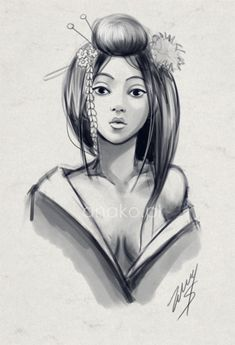 geisha sketch by anako-art.deviantart.com on @deviantART