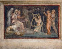 "Orpheus in the Underworld. Orpheus plays for Hades and Persephone in the realm of the dead. He is pleading for the life of his beloved Eurydice. The painting is by Italian artist Giulio Romano (1499-1546) student of Raphael. ©Mona Evans, ""Night Sky Olympics"" http://www.bellaonline.com/articles/art41582.asp"