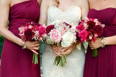 burgundy, raspberry, blush, cream- ignore the round styling and lack of greenery