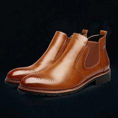 Homme Chaussures Vrai cuir Automne Hiver Confort Nouveauté Bottes à la Mode Botillons boîtes de Combat Bottes Bottine/Demi Botte Volants de 2017 ? $54.99
