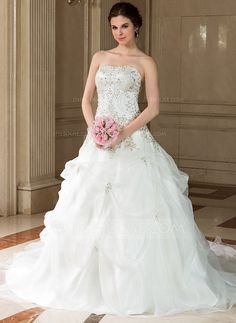 Wedding Dresses - $194.49 - Ball-Gown Sweetheart Chapel Train Organza Satin Wedding Dress With Embroidery Beading Sequins (002011773) http://jjshouse.com/Ball-Gown-Sweetheart-Chapel-Train-Organza-Satin-Wedding-Dress-With-Embroidery-Beading-Sequins-002011773-g11773
