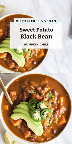 This super simple Vegan Sweet Potato Black Bean Pumpkin Chili comes together with pantry staples in just 4 hours in the slow cooker. Hearty and filling with 8 grams of fiber, 7 grams of plant protein, and 37 grams of complex carbohydrates. Easy, healthy and filled with so much flavor! You can easily add cooked quinoa to this as well. This freezes well and makes for great meal prep and leftovers all week long! #vegan #healthy #pumpkin #chili #recipe