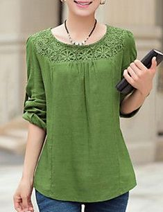 Women Blouse Casual Plus Sizes / Fluffy Spring, Solid Blue / Green Polyester Round Neckline Long Sleeve Medium Kurta Designs, Blouse Designs, Spring Blouses, Shirt Bluse, Fashion Outfits, Womens Fashion, Dress Patterns, Blouses For Women, Plus Size Fashion