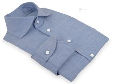 Luxire - Cotton-Linen Blue Chambray dress shirt from Luxire  Features: NOBD 1 collar and 1-button rounded cuff.