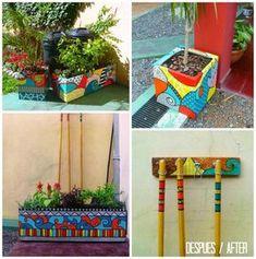 For Grandpa to paint Terracotta Plant Pots, Painted Plant Pots, Painted Flower Pots, Diy Arts And Crafts, Diy Crafts, Cinder Block Garden, Cement Art, Mosaic Pots, Paperclay