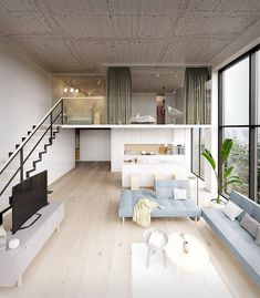 Describe this home in ONE word! This apartment concept displays a loft style approach where the chosen materials have a contrasting finish between pure and raw. Loft Interior Design, Home Room Design, Loft Design, Small House Design, Dream Home Design, Modern House Design, Interior Decorating, 3d Home Design, Minimalist House Design