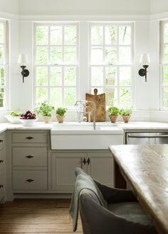 Beigelinen Colored Kitchen Cabinets With Slightly Darker