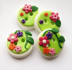 Flowers - set of 4 polymer clay handmade buttons