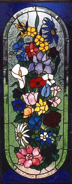 stained glass bathroom window in flower design
