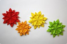 Folded origami snowflakes