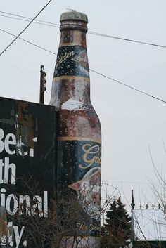 Giant Grain Belt Golden Beer Bottle in front of the old Schmidt Beer Brewery, W 7th St. in St. Paul, Minnesota