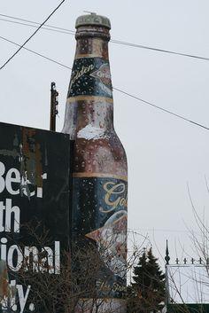 Giant Grain Belt Golden Beer Bottle in front of the old Schmidt Beer Brewery, W 7th St. in St. Paul, Minnesota