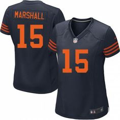 $69.99 Women's Nike Chicago Bears #15 Brandon Marshall Limited 1940s Throwback Alternate Navy Blue Jersey