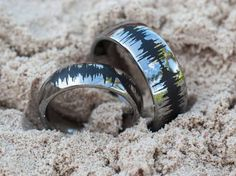 Soundwave Tungsten Rings Couples Matching by RogueRiverJewelry