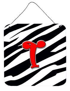 Letter T Initial Monogram - Zebra Red Wall or Door Hanging Prints