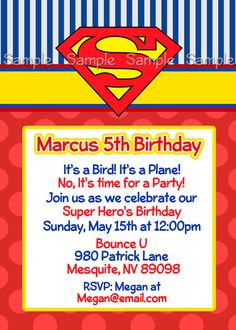 Superman Personalized Printable Invitation Super by PaperDazzle, $10.00