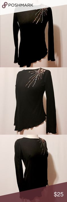 "⭐️ Black Silk Asymmetrical Sequins Blouse Black silk chiffon with light blue, peach and pink sequins sunburst. Round neckline, pull on with asymmetric hem. Bias cut, body conscious fit. 100% Silk Dry Clean Only 36"" Bust 23""overall length #TH1100915 Tops Blouses"