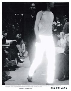Helmut Lang white reflective jacket — fall 1994. Shop for curated vintage designer clothing and second hand runway garments at Vaniitas.