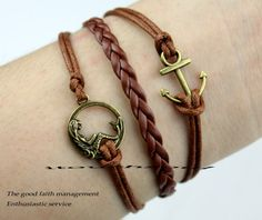Bronze mermaid bracelet anchor bracelet wax by itouchsoul on Etsy, $3.99