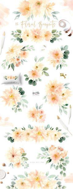 Peach and Cream Dahlias by Kim Thoa Designs on @creativemarket