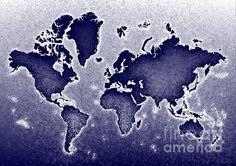 World Map Novo In Blue by elevencorners. World map wall print decor. #elevencorners #mapnovo