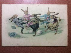 #Antique M.M. #Vienne #Easter #postcard 1920s #Dressed #Bunny #Hares #festive #dance #EGG #etsy Alcohol Ink Painting, Homemade Candies, Mini Heart, Rare Antique, Gifts For Him, Hand Knitting, Best Gifts, Vintage Items, Cross Stitch