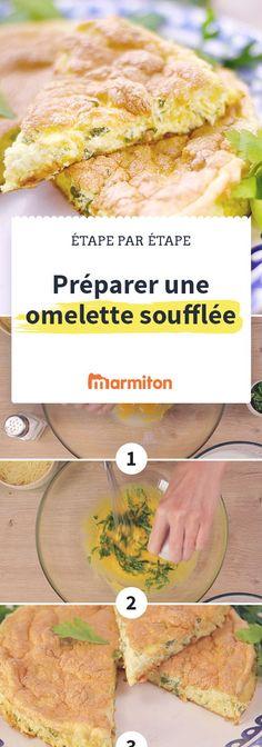Une omelette soufflée facile à faire en suivant cette recette en pas à pas photo #marmiton #recette #recettemarmiton #pasapas #recettepasapas #diy #omelette #oeuf #recetteoeuf