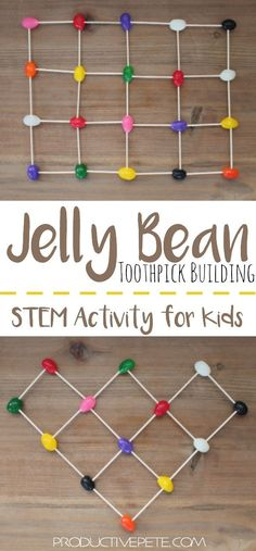 Jelly Bean STEM Activity for Kids An easy STEM Activity that can be done as independent play, or as a team building challenge for kids. Create the tallest jelly bean tower, build an intricate structure, or even work on learning letters and numbers. Games For Kids Classroom, Building Games For Kids, Classroom Team Building Activities, Education Games For Kids, Education City, Education Grants, Learning Games For Kids, Kids Learning Activities, Group Activities
