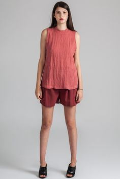 Pender blouse by eco-friendly Canadian fashion label Pillar. Ethically made in Vancouver, Canada. Fashion Labels, Fashion Spring, Slow Fashion, Mock Neck, Sleeveless Blouse, Vancouver, Eco Friendly, Spring Summer, Canada