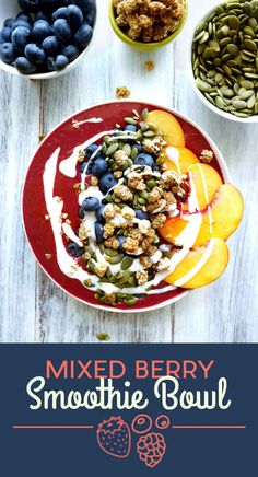 Mixed Berry Smoothie Bowl INGREDIENTS  1 ½ cups frozen mixed berries (such as strawberries, raspberries, and blueberries) ¼ cup pomegranate juice ¼ cup plain yogurt, plus additional for drizzling ½ cup blueberries ½ peach, sliced 2 Tbsp. dried mulberries 2 Tbsp. pumpkin seeds  PREPARATION  Blend the frozen berries, pomegranate juice, and ¼ cup of the yogurt until smooth. Transfer to a bowl and top with the blueberries, peach, mulberries, pumpkin seeds, and a drizzle of yogurt.