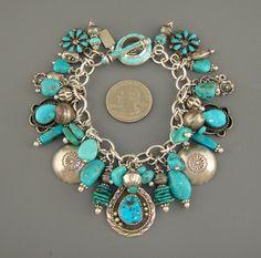 Vintage Navajo Squash Blossom Petit Point Zuni Turquoise Charm Bracelet Necklace | eBay