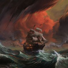 "little-dose-of-inspiration: ""The Triumph of Piracy by DinoDrawing "" Pirate Art, Pirate Life, Pirate Ships, Fantasy Landscape, Fantasy Art, Golden Age Of Piracy, Old Sailing Ships, Ship Paintings, Ghost Ship"