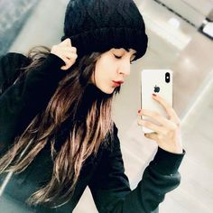 Image may contain: 1 person, phone, selfie, hat and closeup Cute Girl Poses, Cute Girl Photo, Beautiful Girl Photo, Girl Photo Poses, Girl Photography Poses, Mirror Photography, Stylish Girls Photos, Stylish Girl Pic, Crazy Girls