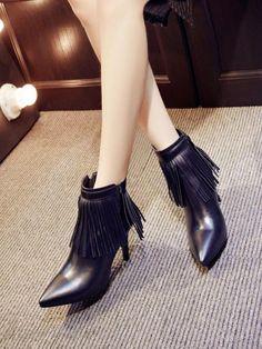 Doresuwe.com SUPPLIES 2015ダンスブーツ真皮 ファッションコーディネート 細い尖頭女ヨーロッパ大物タッセルショートブーツ ブーツ