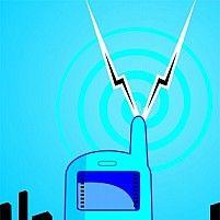 Illustration of a mobile phone transmitting