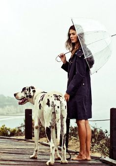 Seethrough umbrella, perfect coat, and big dog. this is what i call the gooood life