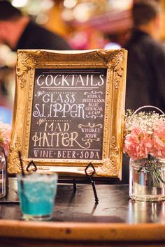 Pretty chalkboard DIY sign. Great to display a signature birthday cocktail at your party!