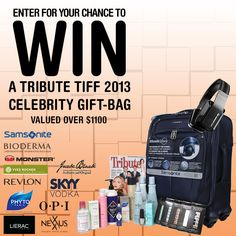 Celebrity Gift Bag Contest - enter for you chance to win a fabulous celebrity gift bag. Revlon, Vodka, Canadian Contests, Visa Gift Card, International Film Festival, Dream Vacations, Entertaining, Celebrities, Gifts