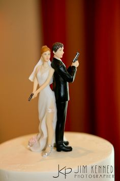 Bride Pushing Groom to the Alter with Shoot Gun Wedding Cake Toppers ...
