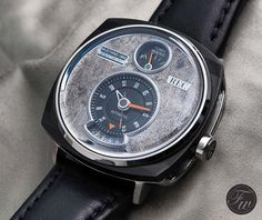 """The """"Mustang"""" watch by REC Watches, Dial made of metal sheet from a 1966 Ford Mustang. 1966 Ford Mustang, P51 Mustang, Cool Watches, Watches For Men, Men's Watches, Audemars Piguet, Luxury Watches, Omega Watch, Clock"""