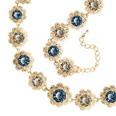 Floral Linked Crystal Statement Necklace