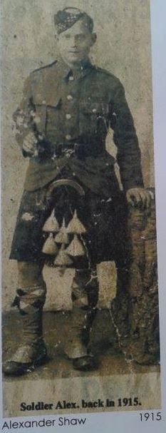 Alexander Shaw from Kilsyth in Stirlingshire - Argyll & Sutherland, he fought and survived in the Great war - This picture was taken in 1915 when he was attached to the 3/9th Dumbarton battalion