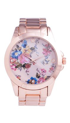 Rose Gold Floral Watch