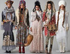 pringle of scotland Folk Fashion, Womens Fashion, Pringle Of Scotland, John Galliano, Gypsy Style, Beautiful Dresses, Russia, Kimono Top, Bohemian