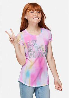 Size 18 Plus Juniors//Girls Justice Unicorn Emoji Rainbow 3//4 Sleeve Dress