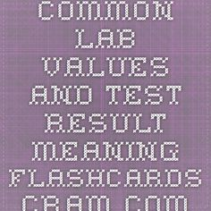COMMON LAB VALUES AND TEST RESULT MEANING Flashcards - Cram.com