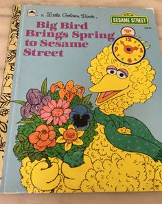 vintage Little Golden Book, Sesame Street, Big Bird Brings Spring to Sesame Street, 108-63, 1991 by MotherMuse on Etsy