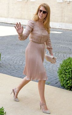 Princess Beatrice of York attends the wedding of Prince Amedeo and Elisabetta Maria Rosboch Von Wolkenstein in Rome, Italy. The princess looked ladylike in her beautiful dusty pale pink chiffon Valentino dress and sparkly Valentino shoes.